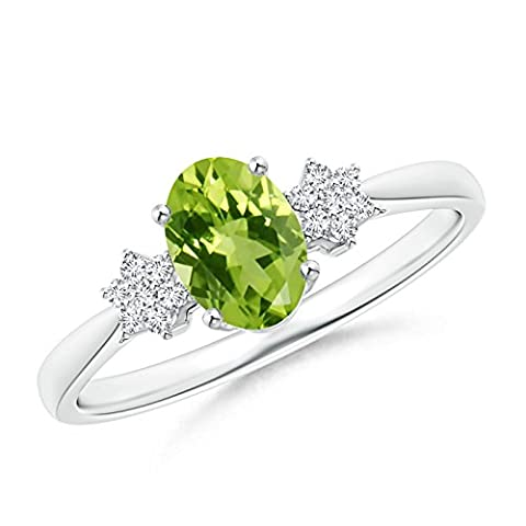 Tapered Oval Peridot Solitaire Ring with Diamond Clusters in 14K White Gold (7x5mm Peridot)