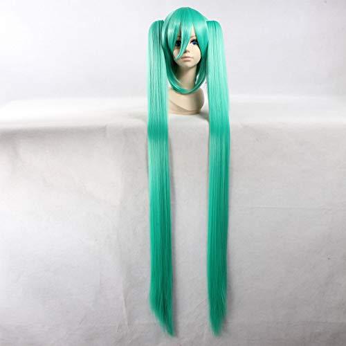 HOOLAZA Grüne extralange gerade Perücke Vocaloid Hatsune Miku für die Halloween-Party-Cosplay-Perücken(EINWEG)