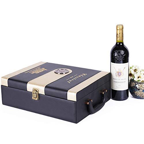 Stilvolle Weinlagerungsträger-Geschenkbox PU-Leder Tragbare Weinbox 2 Flasche 750ML Rotwein Champagner Lagerung Geschenk Verpackung Box Reise Weinkoffer Mit Griff 3 Stück Wein Werkzeuge Zubehör Set Fü