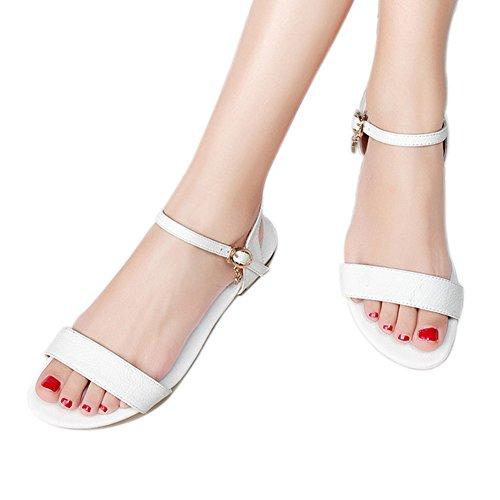 EKS Damen Leder Sandalen Flats Fersen Casual Sommer Ankle Strap Sandals Schuhe White-Leder