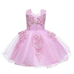Yanhoo Mädchen Kleid Prinzessin Ärmellos Blumen Hochzeits Festzug Kleid Blumenmädchen Kleider Karnevalsnetzkleid
