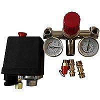 90-120PSI Einstellbarer Luftkompressor Druckschalter Steuerventil mit 2 Drucklehren Ventilsteuerung Set 002