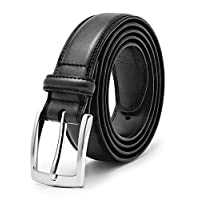 Men's Genuine Leather Dress Belt, Handmade, 100% Cow Leather, Fashion & Classic Designs for Work Business and Casual (Size 40 (Waist 38), Essential Black)
