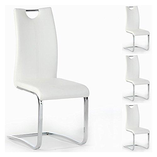 Esszimmerstuhl Schwingstuhl SABA, Set mit 4 Stühlen, chrom/weiß
