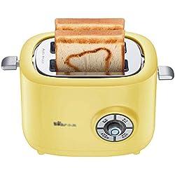 Toaster Grille-Pain Jaune, tournebroche pour Le Petit-déjeuner, Grille-Pain à 2 tranches, 680 W, Cuisson à 6 Vitesses