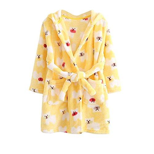 JZLPIN Unisex Baby Mit Kapuze Bademantel Kinder Flanell Pyjama Morgenmantel zum Jungen Mädchen Gelber Bär 120CM(3-4 - 3 Bären Kostüm