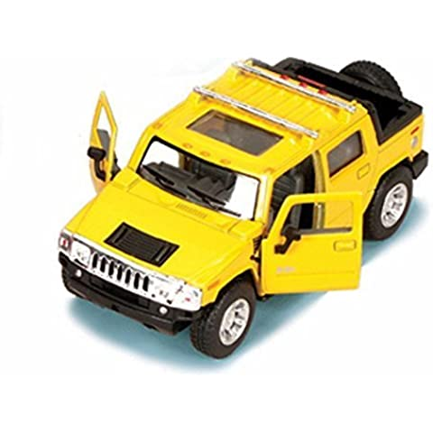 2005 Hummer H2 SUT Pickup Truck, Yellow - Kinsmart 5097D - 1/40 scale Diecast Model Toy Car by Kinsmart
