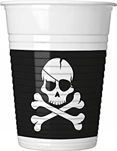Procos - Juego de 8 vasos de cartón con diseño de piratas Black Skull, multicolor, PR86881
