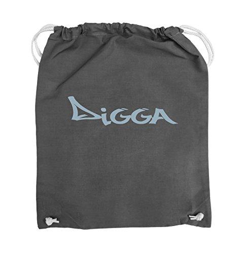 Comedy Bags - DIGGA im GRAFFITI Style - Turnbeutel - 37x46cm - Farbe: Schwarz / Pink Dunkelgrau / Eisblau