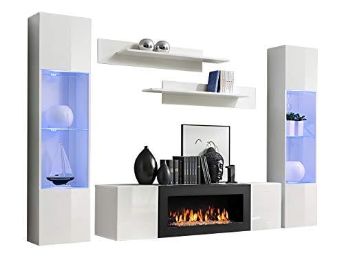 Wohnwand Flyer M3 mit Kamin Bioethanol, LED im Set, Praktische Anbauwand mit Kamineinsatz, Elegante Wohnzimmer-Set, Schrankwand, TV-Lowboard, Wandregal, Vitrine (weiß/weiß Hochglanz)