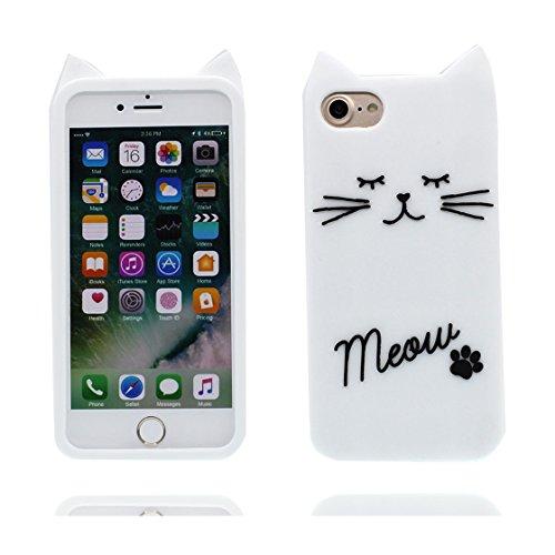 iPhone 7 Custodia, | Case Cover protettiva antiurto TPU Resistente ai graffi | Soft-TPU | Copertura per iPhone 7 - Carino gatto bianca Cat bianca 1