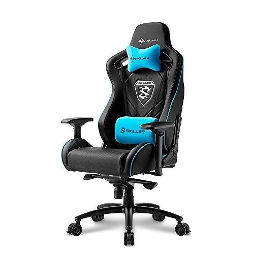 Sharkoon Skiller SGS4 Komfortabler Gaming-Stuhl (mit extragroßer Sitzfläche, 150kg belastbar, Kunstleder, Aluminiumfußkreuz, 75mm Rollen mit Bremsfunktion, 4-Wege-Armlehnen, Stahlrahmen) schwarz/blau