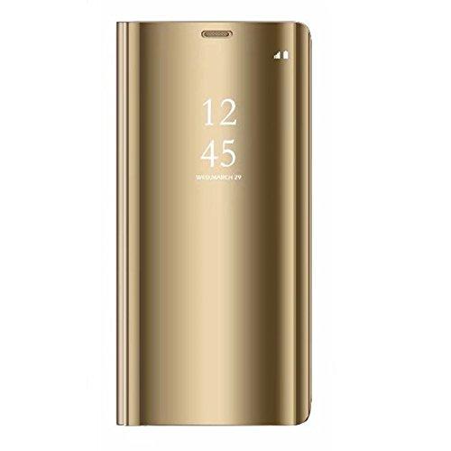 Tianyan Funda Xiaomi Mi Mix 3,Inteligente Espejo Clear View Flip Cover Carcasa Plegable Soporte Funda para Xiaomi Mi Mix 3,Dorado