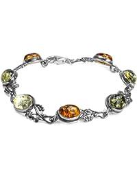 Multicolor Amber Sterling Silver Grapevine Bracelet 17.5 cm