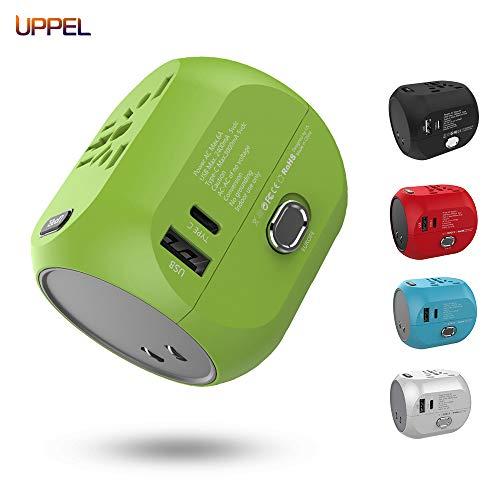 UPPEL Reiseadapter, Universal Stromadapter Reisestecker travel Adapter mit Alles-in-Einem Weltweiter Netzsteckdosen mit USB und Typ C-Anschluss für USA,AU,Asien,EU,UK und über 150 Ländern.(Grün) (Geschichte Internationale)