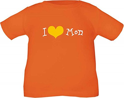 Baby und Kinder T-Shirt I love Mom / Größe 60 - 164 / in 10 Farben Orange