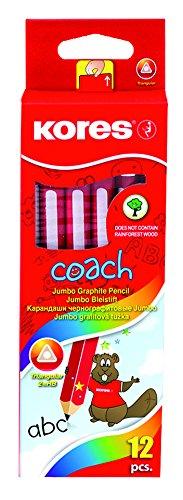 Kores BB92530 Bleistift Coach, 2HB, 3-kant, inklusiv Radiergummi, 12 Stück, schwarz