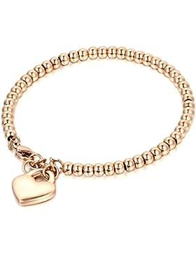JewelryWe Schmuck Charme Damen Kugel Perlen Armband,Handgelenk Kugel Perlenkette mit solid Herz Anhänger Herzkette...