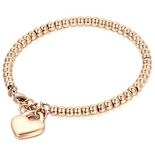 JewelryWe Schmuck Charme Damen Kugel Perlen Armband,Handgelenk Kugel Perlenkette mit solid Herz Anhänger Herzkette, Edelstahl Armreif, Rosegold - kostenlos Gravur