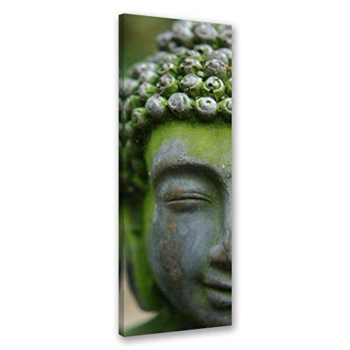 Feeby. quadro - 1 parte - 30x90 cm, pannello singolo quadri su tela stampa artistica, buddha, religione, cultura, verde