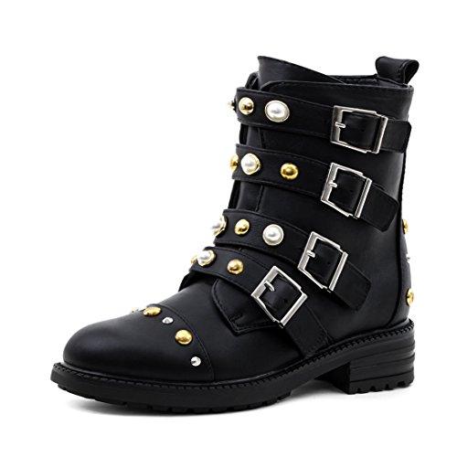 fe530911fa0504 Damen Stiefel Stiefeletten Biker Boots mit Schnalle in Hochwertiger  Lederoptik Schwarz Gold 40