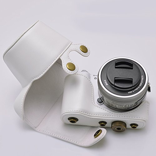 Funda de c/ámara by aiqi protecci/ón de piel sint/ética con correa para el hombro para c/ámara digital Sony A5100/a5000/nex 3/N lente de 16//–/50/mm OSS