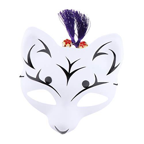 B Baosity Halloween Fuchs Maske Fox Halbe Gesichtsmaske Kostüm Zubehör mit Quasten und Glocken - Weiß