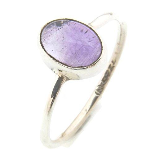 Amethyst-ring-rund - (Ring Silber 925 Sterlingsilber Amethyst lila Stein (MRI 10), Ringgröße:54 mm / Ø 17.2 mm)
