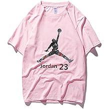 GAIXIA Verano Cuello Redondo Manga Corta Bull 23 Fly Jordan Baloncesto Entrenamiento Camiseta Suelta Pareja Manga