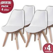 Homely - Juego de 4 sillas de comedor DAY, patas de madera y carcasa polipropileno