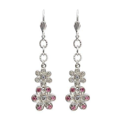 Cristalina Pink und Weiß Kristall Floral Drop Hebel Rückseite Ohrringe von (Kostüme Edwardian)