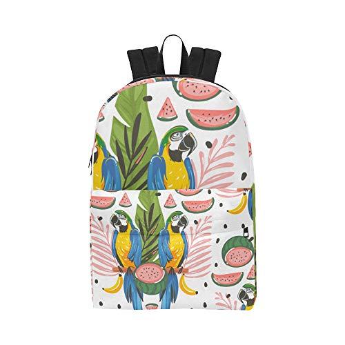 Sommer Wassermelone Vogel Flamingo klassischer Netter wasserdichter Laptop Daypack sackt Schulehaus Kausale Rucksäcke Rucksäcke Bookbag für Kinder, Frauen und Männer mit Reißverschluss EIN
