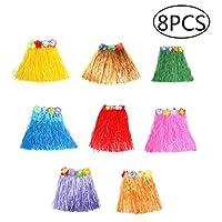 """KangRuiZhe Hawaiian skirt Home party elastic hula dancer grass skirt for kids(16"""" ,8 pack)"""