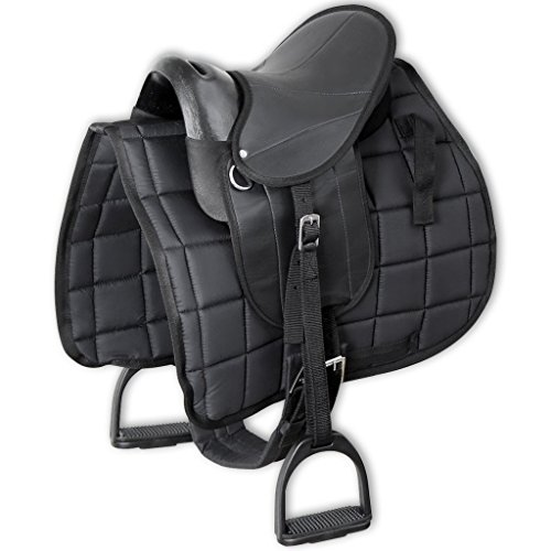 vidaXL Pony-Reitsattelset 10″ Ponysattel Satteldecke Steigbügelhalter Sattelgurt