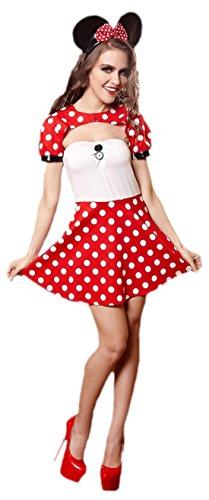 erdbeerloft - Damen Trägerloses kurzes Mini Mouse Kostüm mit Bolero , S-L One Size, Rot-weiß-schwarz