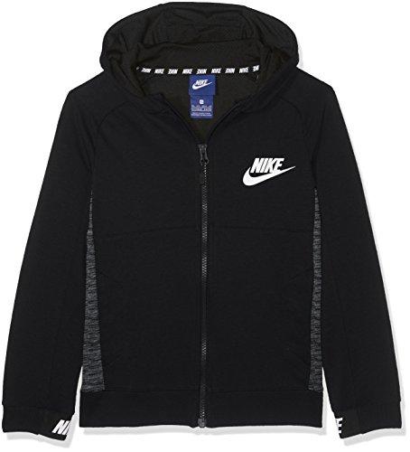 Nike Jungen Sportswear Advance 15 Langarm Oberteil Mit Kapuze Full-Zip, Black/White, M