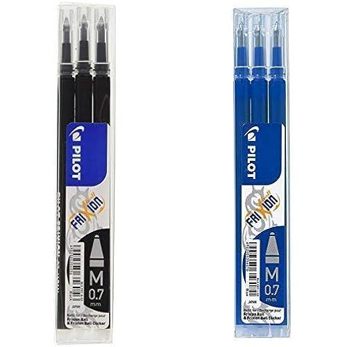 Pilot Frixion Ball Refill per Penna a Sfera, 0.7 mm, 3 Refill per Colore, 2 Colori, Nero e Blu