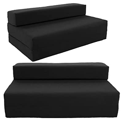 Gilda ® Double Sofa bed futon - Black Indoor/Outdoor Stain Resistant fabric - inexpensive UK sofabed store.