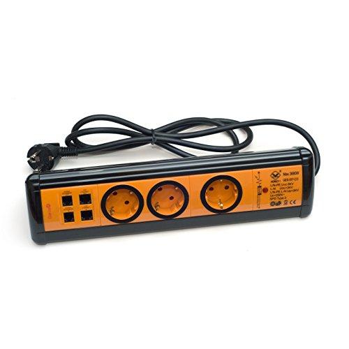 Garza Power - Base múltiple de 3 tomas Schuko + 2 USB +2 RJ11 + 2 RJ45, cable 1.5mm x 1.4m, color Negro y Naranja