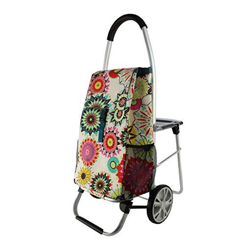 BingWS Floral Einkaufstrolleys 2 Rad Warenkorb Faltbarer Sitz Old Man Trolleys Multifunktionale Freizeit Klapp Warenkorb Shopper Gepäckwagen Einkaufstrolleys (Color : D)