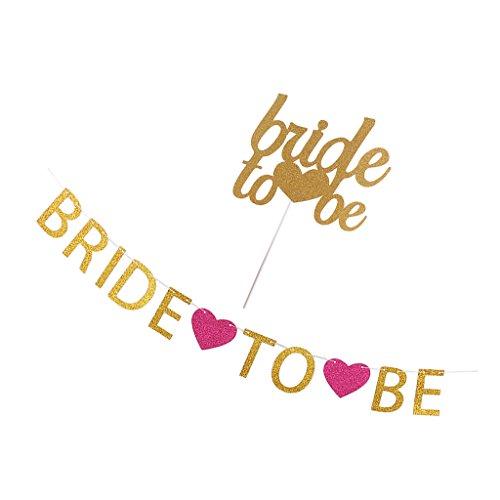 MagiDeal Bride To Be Hochzeit Banner Mit Liebe Herz Braut Dusche Dekor und Kuchendeckel Tortenstecker Cake Topper Banner-kuchen-deckel