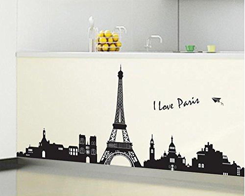 ufengke® Paris Stadt Silhouette Eiffelturm Wandsticker, Wohnzimmer Schlafzimmer Entfernbare Wandtattoos Wandbilder (Paris Schlafzimmer)
