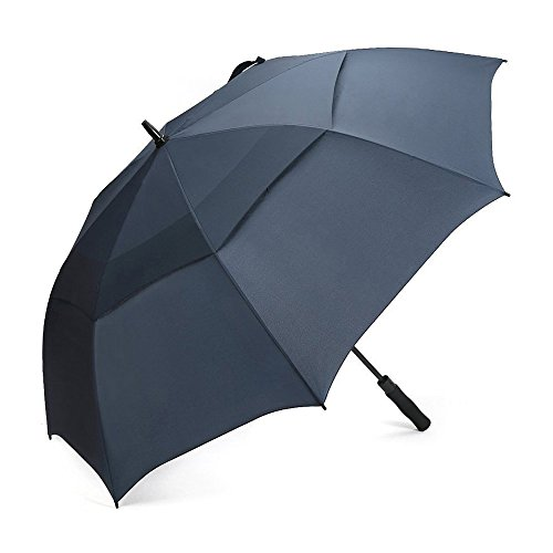 G4Free 62 Inch Automatic Open Golf Umbrella Extra Large Oversize Double Canopy Vented Windproof Waterproof Stick Umbrellas (Navy Blue)