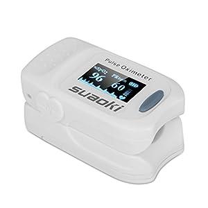 Suaoki - Pulsioxímetro de Dedo Oxímetro Digital Con Alarma Pitido (Pantalla OLED, Medidor de Sangre Oxígeno, Frecuencia Cardíaca, Para Adultos y Niños, Caso Protector) Blanco