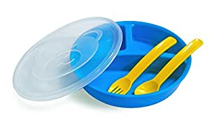 Littles Three Section Divided Plate With Lid Fork & Spoon Code 336 Blue / Green - Set Of 2