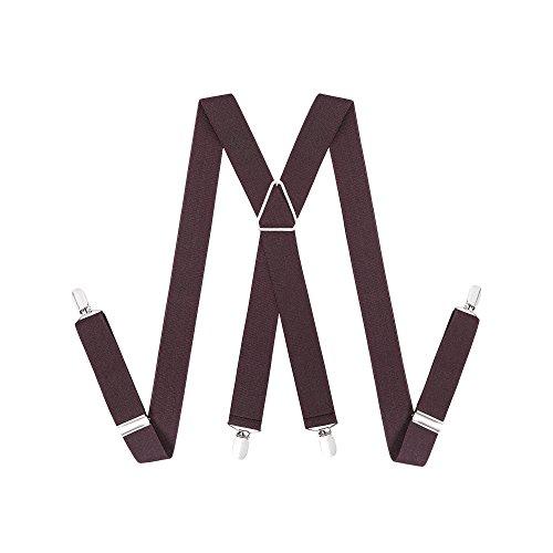 Hosenträger für Herren Breit 35 mm - 4 Clips mit Leder in X Form Längenverstellbar und Elastisch Hosenträger (Kaffee) (Baby-ring-bearer-outfit)