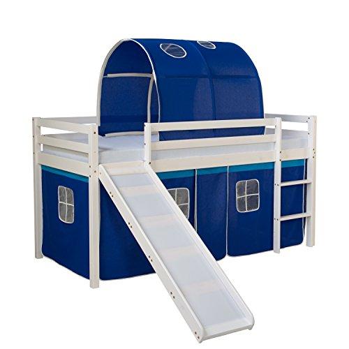 Homestyle4u 1568, Kinderbett 90x200 Weiß, Hochbett mit Rutsche Vorhang Tunnel Blau, Holz Kiefer -