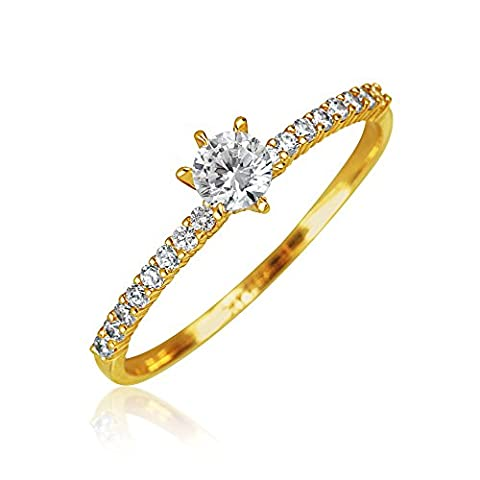 14K Yellow Gold CZ Thin Solitaire Engagement Ring Pave Band