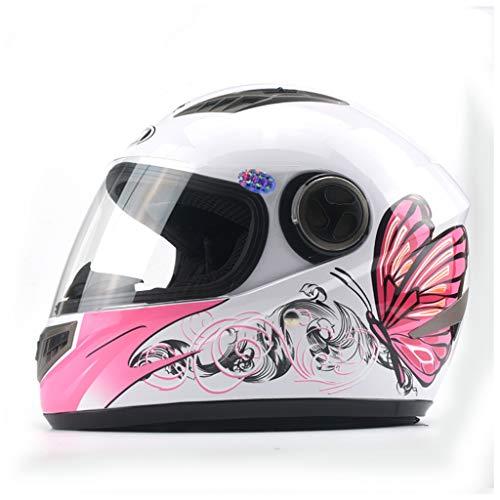 SMC Casco da Motociclista Elettrico da Uomo Casco Integrale da Donna Fantasia per Quattro Stagioni (Color : Bianca, Dimensione : Anti-Fog)