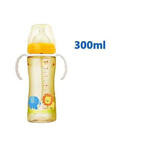 XW Botella Ppsu Botella Ppsu Boca Ancha Botella de Bebé con Paja Botella de Bebé Manejar Manejar la Botella,Naranja,300 ml